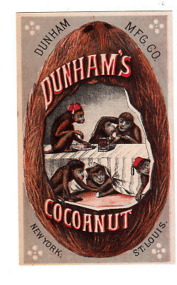 Dunham's Concentrated Cocoanut for Pies Cakes Monkeys Table St Louis Card c1880s
