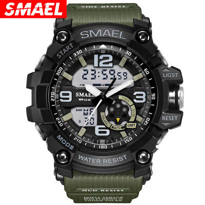SMAEL Men's Analog Digtal Sport Wrist Watch Dual Quartz Movement Backlight Watch