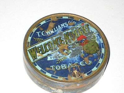 COLLECTABLE WELCOME NUGGET round Tobacco  tin