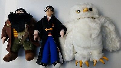 Harry Potter, Hagrid, Hedwig the owl soft toys. Rare.