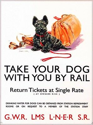 Take Your Dog by Rail England Vintage Travel Advertisement Art Poster Print