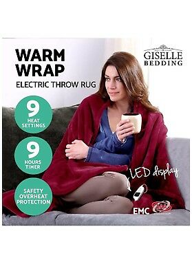 Washable Heated Electric Throw Rug Snuggle Blanket Coral Fleece Heat All Sesson