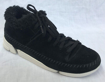8e85b81a3d9f5 BNIB Ladies Clarks Originals Trigenic Flex Black Suede Wool Lined Trainers