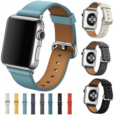 For Apple Watch 38/40/42/44mm 1/2/3/4 series Genuine Leather Strap Wrist Band