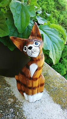 Hand Carved Wooden Cat Statue Figurine Crafted Wood Kitty Kitten