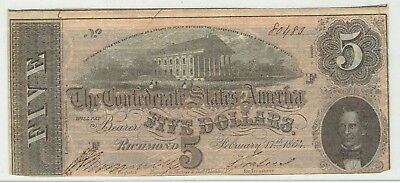 The Confederates States of America $5.00 Note