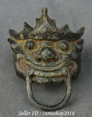 "4"" Old Chinese Dynasty Palace Bronze Zodiac Year Dragon Head Amulets Belt Buckle"