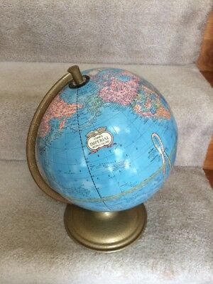 "Vintage George Cram 9"" Imperial World Globe With Round Metal Base Ussr Style"