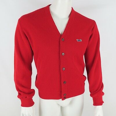 JCPenney The Fox Sweater Red Cardigan Mens Size Medium Vintage Union Made USA D3