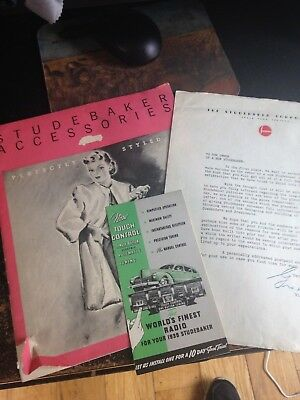 ORIG  1939 Studebaker Optional Accessories Brochure with SALES LETTER & radio