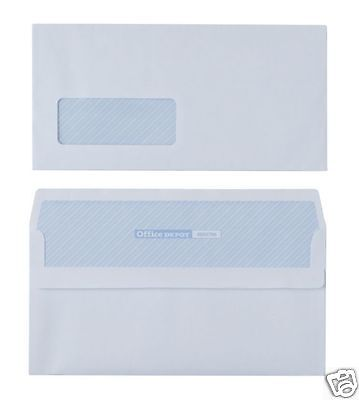 1000 x DL Plain White Business Envelopes 80gsm Self Seal Window 2017260