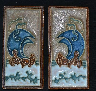 Extremely Rare Pair of Brik Tiles Boats  Porceleyne Fles Delft
