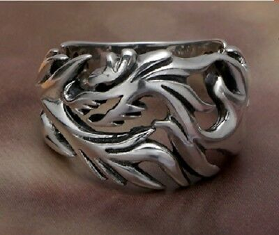 Size9.5 Dragon Pattern Cool Mens Claw Biker Ring Vintage Steel Fashion Ancient