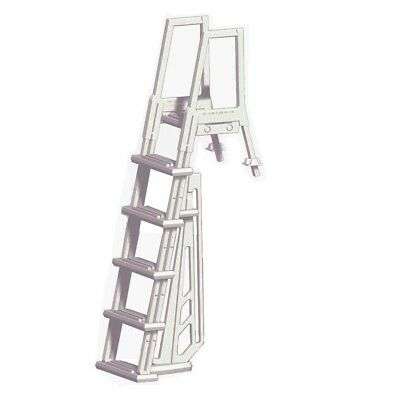 Heavy Duty In-Pool Ladder for Above Ground Swimming Pools Step White Frame Climb