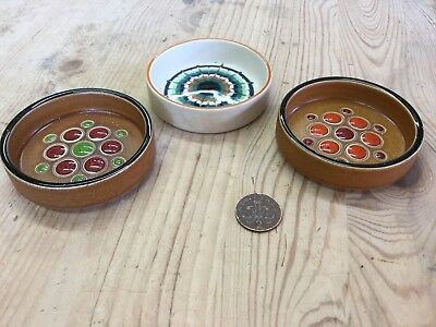 Set Of 3 Vintage 1970s Hornsea Muramic Glazed Pin Dishes Collection Brown