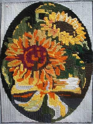 "Vintage Completed cotton needlepoint tapestry Sun flowers 9""x7"""
