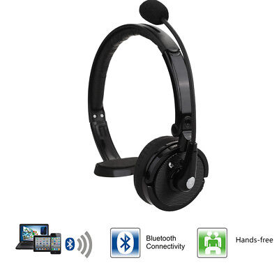 Hands Free Bluetooth Headset Wireless Truck Driver Headphones Noise Canceling US