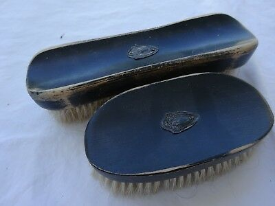 Victorian Ebony Wood Grooming Clothing Brushes Sterling Silver 925 Medallion