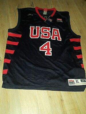 VINTAGE Iverson REEBOK TEAM USA Basketball Trikot NBA GR XL Jersey Shirt