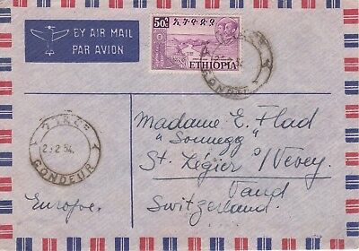 Ethiopia 1954 air mail letter Gondar to Switzerland  50c applied but rate 60c