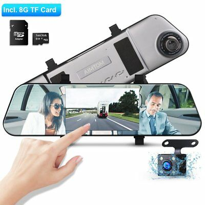 """5"""" 1080P HD Dual Lens Rear View Mirror Touch Screen Dash Camera with Backup Cam"""