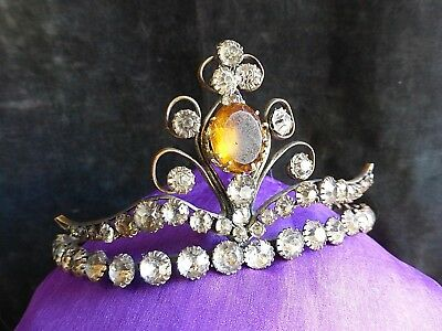 Antique Victorian Tiara, Hair Comb, Corounne, Diademme Faceted Crystals Wedding