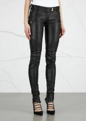 9d57c9af New Black Leather Biker Pants Moto Style Quilted Ribbed Chic Skinny Trousers  Hot