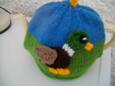 Hand Knitted Duck And Duckling Tea Cosy For A Medium Teapot 3-4 Cup Size