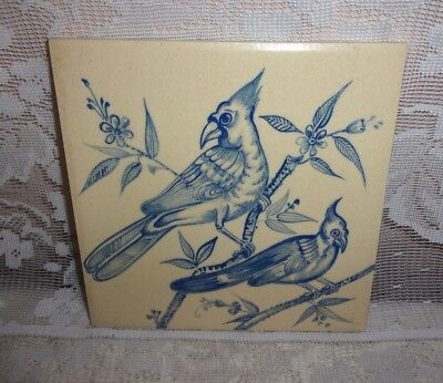 B P & T Hand Painted Blue & White Exotic Birds Janah India Tile Design Number 7