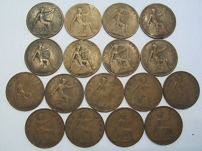 Lot Of 17 Great Britain Large Cents 1896-1939--Dates Shown Listing