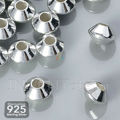 925 STERLING SILVER 4.5mm Smooth Saucer Spacer Beads Jewellery Making FINDINGS