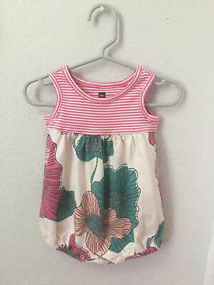 Tea Collection Illawarra Two-Tone Romper Baby Girl 6-9 months Pink White & Blue