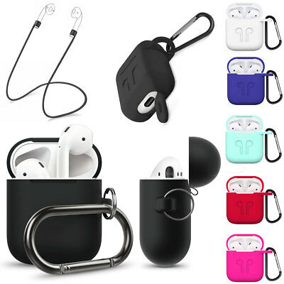 For Apple AirPods Silicone Anti-lost Earphone Strap + Keychain Case Skin Cover