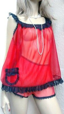 Vtg Negligee Set Sheer Nylon & Lace Babydoll Angel Top/ Panties French Knickers