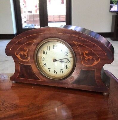 Early 20Th Century French Wind Up Inlaid Mahogany Mantel Clock