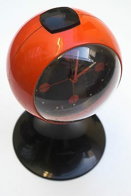 Vintage Sandro Retro Alarm Clock Orange Germany Space Age Desk Clock