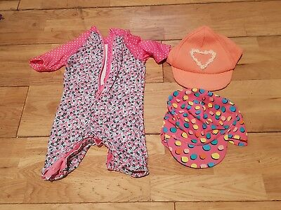 baby girl swimming costume 6-9 months plus hat 6 - 12 months