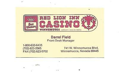 Red Lion Inn Casino Business Card  Winnemucca, Nevada    Open from 1978-2009