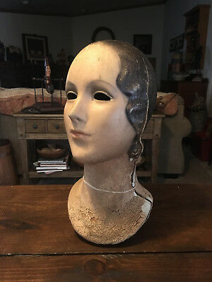 ANTIQUE 1920's VICTORIAN MANNEQUIN HEAD DISPLAY - COMPOSITION- NUMBERED -NO EYES