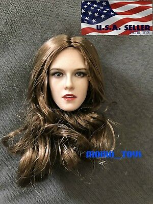 "1/6 American Female Head Sculpt BROWN Hair For 12"" Hot Toys PHICEN Figure ❶USA❶"