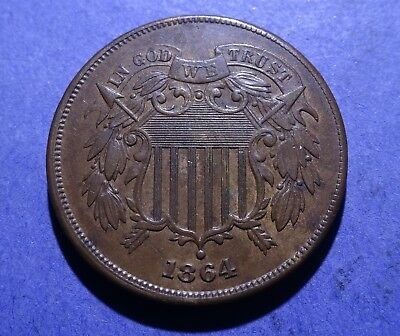 1864 Large Motto Two Cent AU