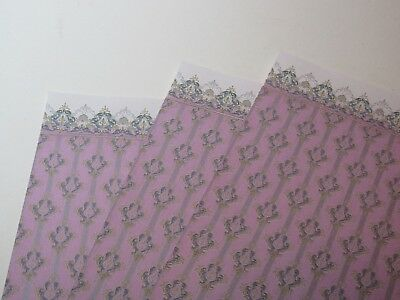 Miniature Dollhouse Wall paper. J Hermes Acanthus Pink Multi Colors 1:12 scale
