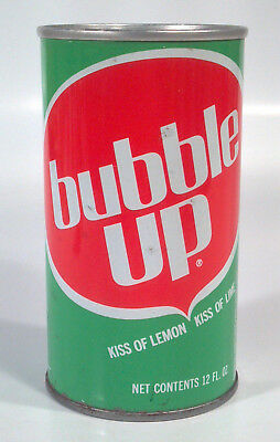 Vintage Bubble Up Soda Pop 12oz Straight Steel Can Chicago IL Kiss Of Lemon Lime