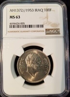 1953 Ah1372 Iraq 100 Fils Ngc Ms 63 Very Scarce High Grade Coin True Rarity