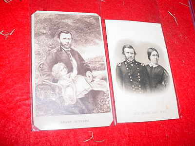 Lot Of Two Antique General Grant Photographs One With Wife Good Condition