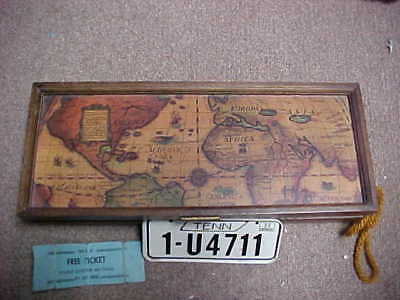 Vintage Dresser Box With Old World Antique Lid Map Full Of Contents