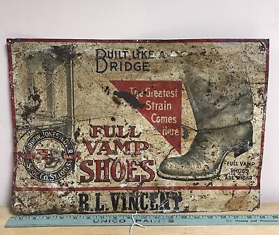 Antique Shoe Advertising Sign Eary Full Vamp Shoes tin tacker Rare advertising!
