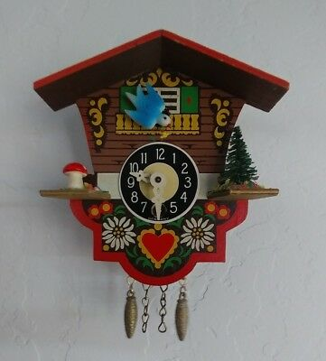 """Vintage 4"""" Made In Germany Small Cuckoo Clock Painted Blue bird"""
