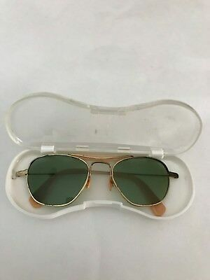 Vintage Mid Century Sunglasses w/ Plastic Case from 1950-60's ~ Green Tinted