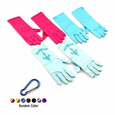 Princess Queen Girls Kids Cosplay Elegant Gloves Masquerade Party + Carabiner